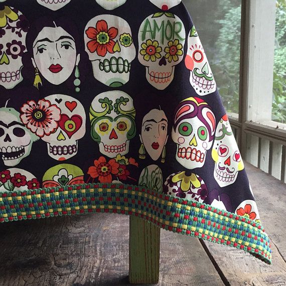 Frida Kahlo and Sugar Skulls Day of the Dead Square by muerto2go