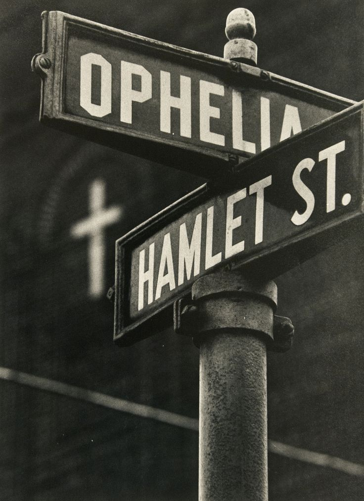 """Ophelia & Hamlet street signs. """"A Shakespearean intersection in Pittsburgh, 1955.""""  Photo by W. Eugene Smith, caption from photo site"""