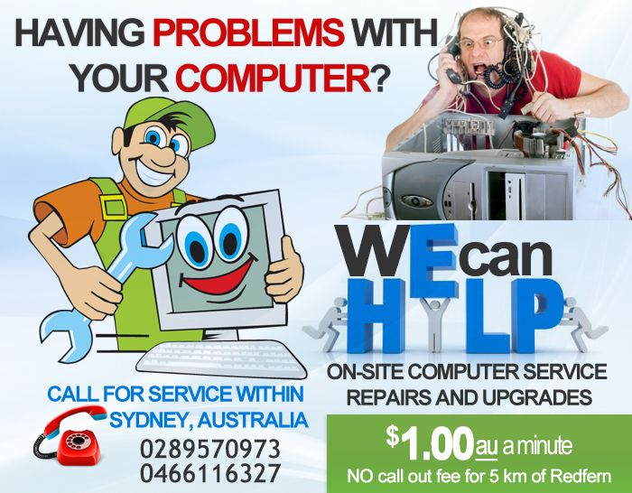 On-site computer repairs and upgrade in Sydney Australia.