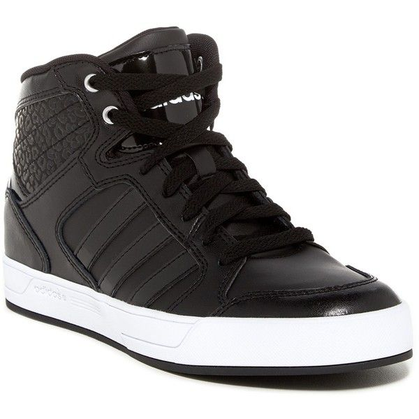 adidas BBNeo Raleigh Hi Top Sneaker ($50) ❤ liked on Polyvore featuring shoes, sneakers, leopard platform sneakers, leopard sneakers, leather high tops, leather high top sneakers and adidas shoes