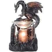 Decorative Guardian Dragon on Castle Electric Oil Warmer and Wax Tart Burner in Metallic Look for Medieval Home Decor by Home 'n Gifts