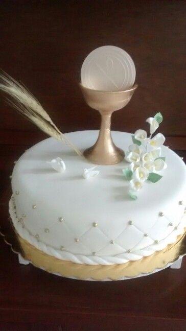 Torta primera comunion dorada
