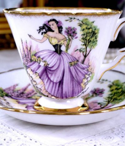 Taylor & Kent DAINTY MISS English Tea Cup and Saucer, Floral Tea Set, Purple Teacup Duo, Signed, Made in England, Vintage 1950s
