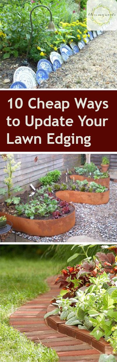 Edging can add a clean, manicured look to your lawn and garden. Unfortunately, the materials can get pretty pricey -- especially when you need a lot of it. To help you improve the look of your garden on a budget, here are 10 inexpensive ways to give... #diygardenedging #gardenedging #landscaping