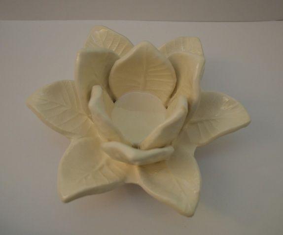 Lotus kremhvit lysestake