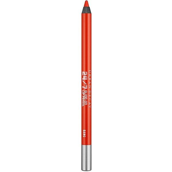 Urban Decay 24/7 Glide-On Lip Pencil - Colour Bang (€16) ❤ liked on Polyvore featuring beauty products, makeup, lip makeup, lip pencils, urban decay lip liner, urban decay, urban decay lip pencil, lip pencil and lip gloss makeup