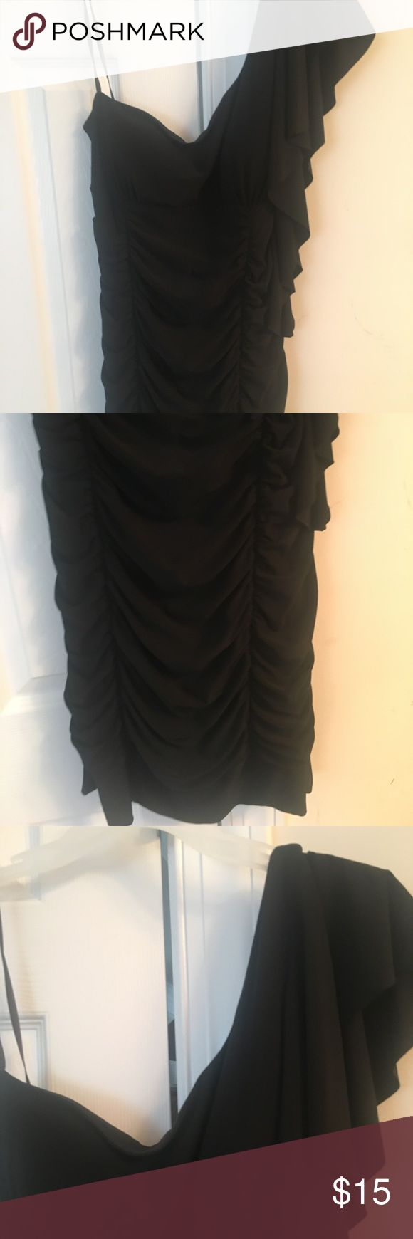 Taboo black slinky long tunic/ dress size XL Excellent condition! No rips or stains..92% poly, 8% spandex Taboo Tops Tunics
