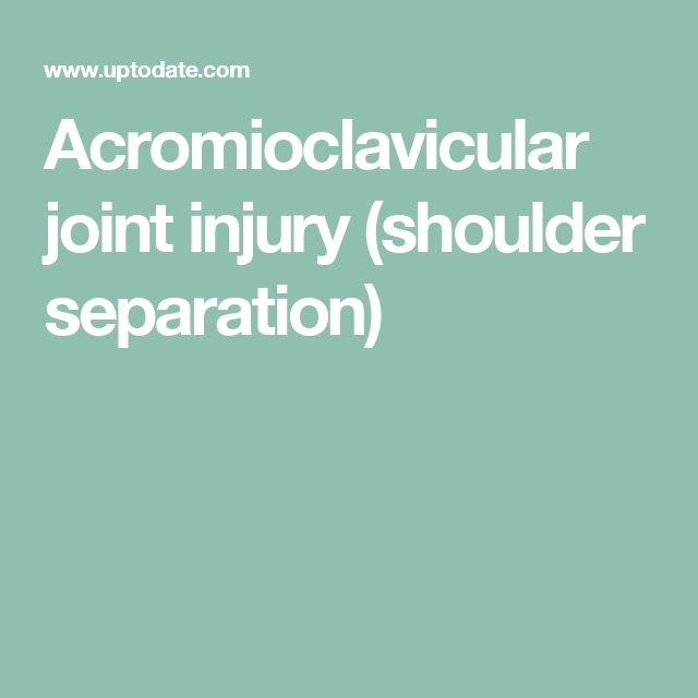 Acromioclavicular joint injury (shoulder separation)