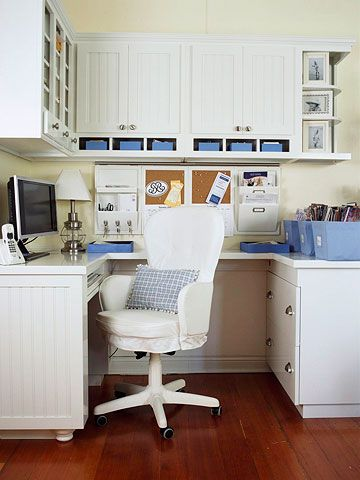 Carve out a lot of work space -- even in a tight space -- with a U-shape desk setup, which provides plenty of space to spread out papers and files while you're working. Use an undermount tray for your computer keyboard to free up valuable desktop real estate. Hang cabinets with both open and closed storage above the desk. Use the open shelves for items you use frequently and the shelves behind closed doors for infrequently accessed supplies. Suspend a bulletin board or calendar on the wall…