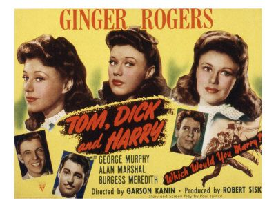 Tom Dick and Harry, Ginger Rogers, George Murphy, Alan Marshal, Burgess Meredith, 1941