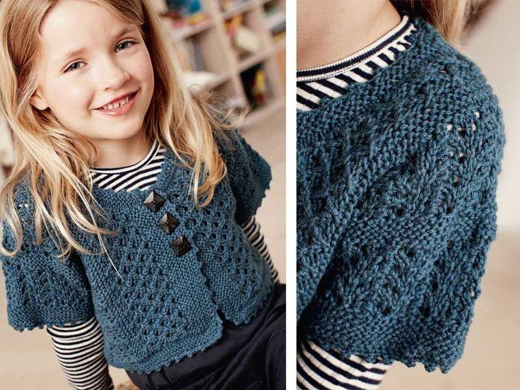 Синий жакет для девочки - схема вязания спицами. Вяжем Жакеты на Verena.ru