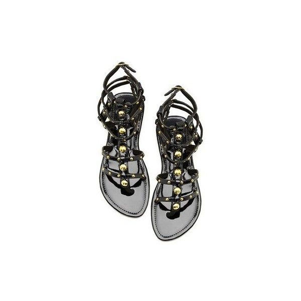 MYSTIQUE - Black Gladiator Sandal at chickdowntown.com (2.400 ARS) ❤ liked on Polyvore featuring shoes, sandals, flats, zapatos, black, flat heel sandals, gladiator sandal, roman sandals, flat shoes and flats black shoes