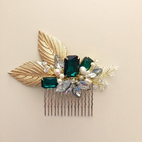 Emerald Green Gold Bridal Hair Comb  by amuandpri on Etsy