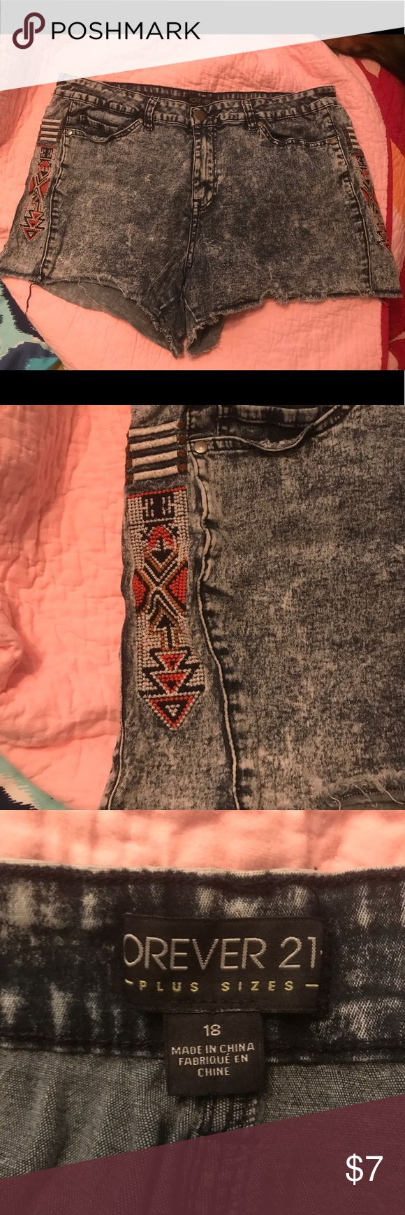 Forever 21 Distressed Tribal Shorts They are super stretchy and have designs down both sides of the shorts. Forever 21 Shorts Jean Shorts