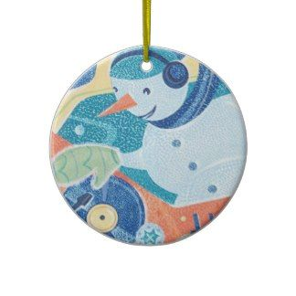 Snowman DJ Holiday Dance Party Christmas Ornaments