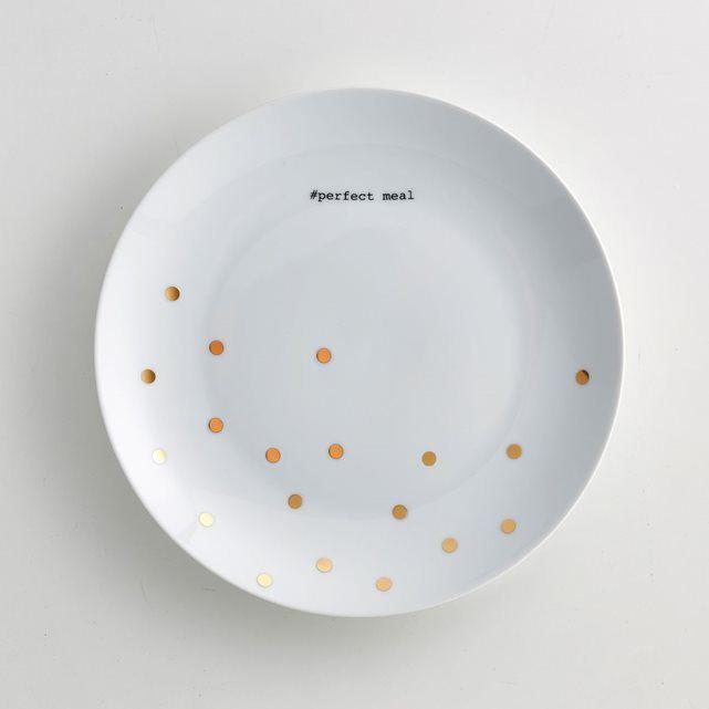 """Lot de 4 assiettes plates en porcelaine La redoute Intérieurs. Motif pois coloris or avec message """"perfect meal"""" coloris noir pour un joli effet festif. En coffret cadeaux.Caractéristiques des 4 assiettes plates :- Assiette plate en porcelaine - Diamètre : 26,5 cm- Compatible lave-vaisselle - Pas de micro-ondes - Vendues par lot de 4 en coffret cadeaux"""