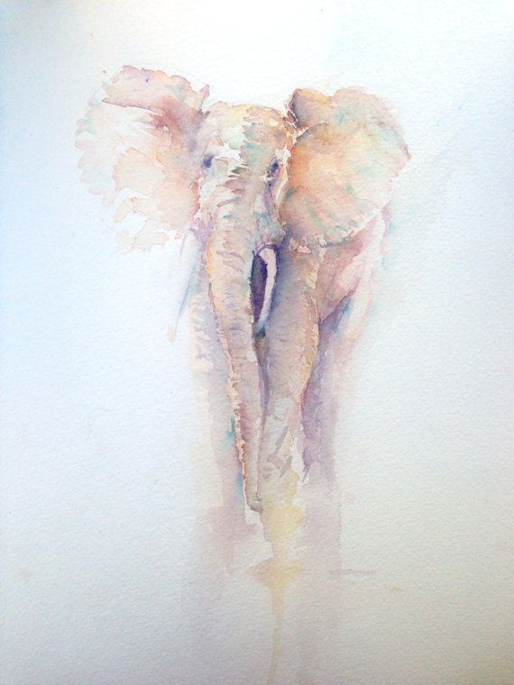 Elephant original watercolour painting * BlackFriday/CyberMonday- Free Double Mount will Purchase on Etsy, £125.00 #elephant #watercolor #art