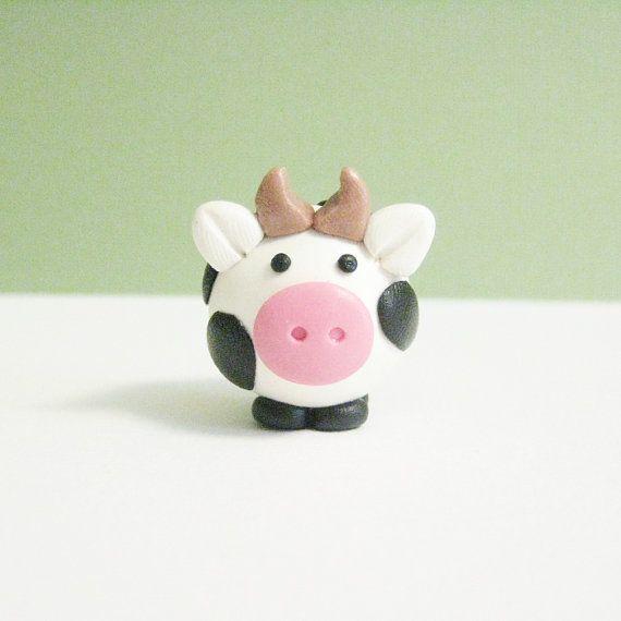 Polymer Clay Animal Moo Cow Figurine Handmade by MeganSiedzik