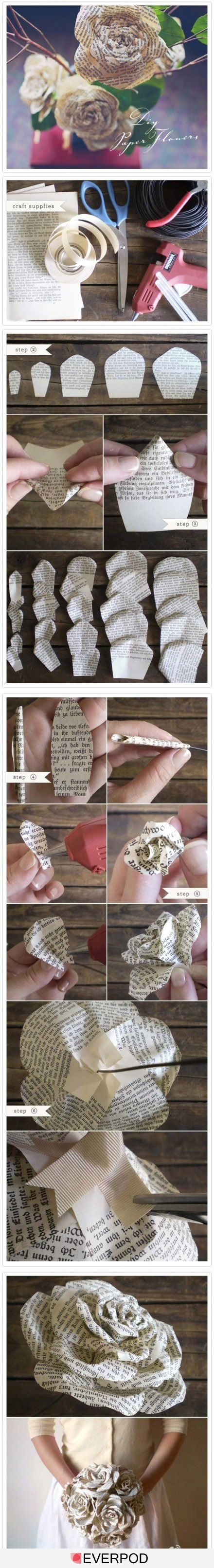 Love flowers made from book pages, but this looks like a complicated project that will take a lot of time....maybe in the future though!