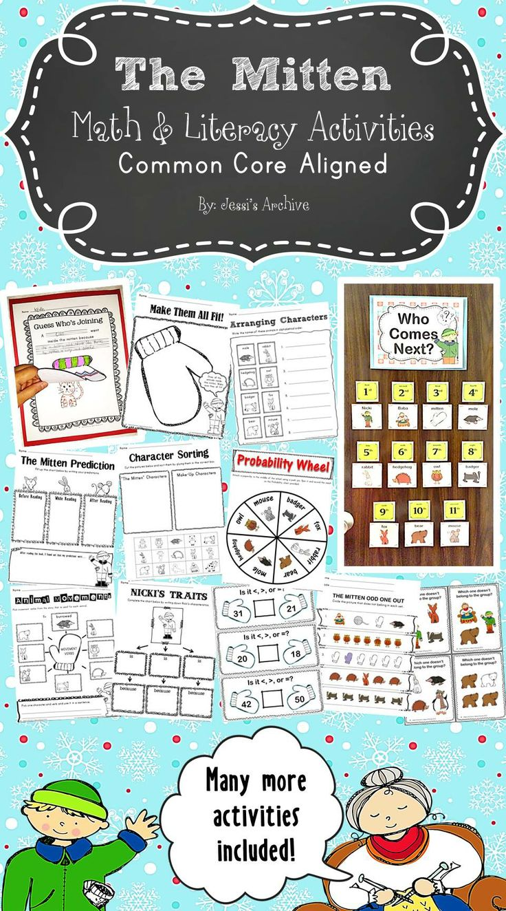 "The Mitten Activities: 80 pages - extend the fun of ""The Mitten"" story by Jan Brett through these creative and engaging activities. This includes Math and Literacy activities, worksheets, graphic organizers, and more which will help your students meet the Common Core State Standards."