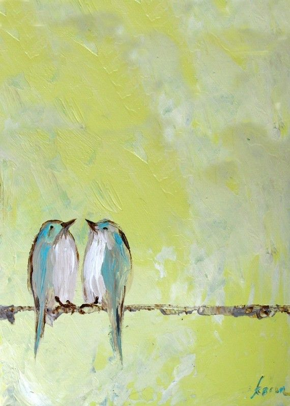 """Love Birds print and link to etsy store. a few original paintings for sale. LOVE the birds! and she does bird """"families"""" with baby birds too. Wonder if she takes special orders? Fun to order a series. 2 Love birds. Family of 3. Family of 4? ;)"""