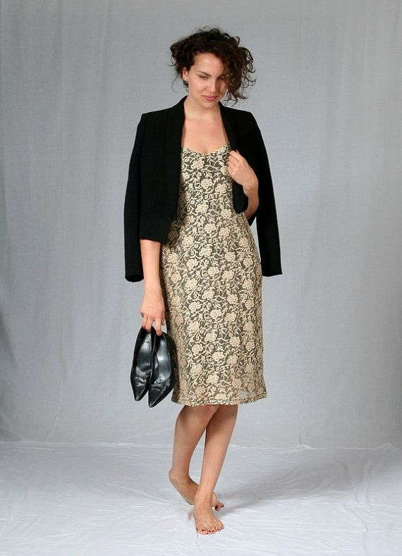 Elegant stretch brocade evening dress in pale gold and black lace