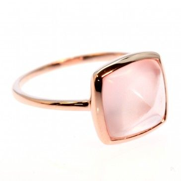 Rose Gold Ring with Sugarloaf Cut Rose Quartz 179$