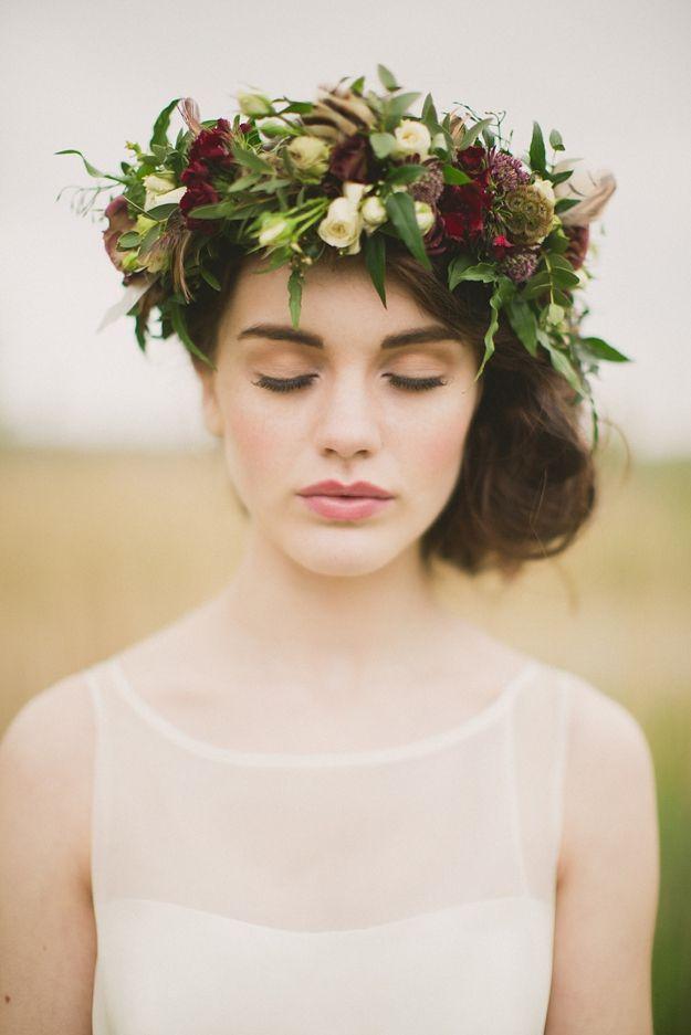 wild at heart autumn wedding inspiration shoot -- flower crown | Paula O'Hara Photography