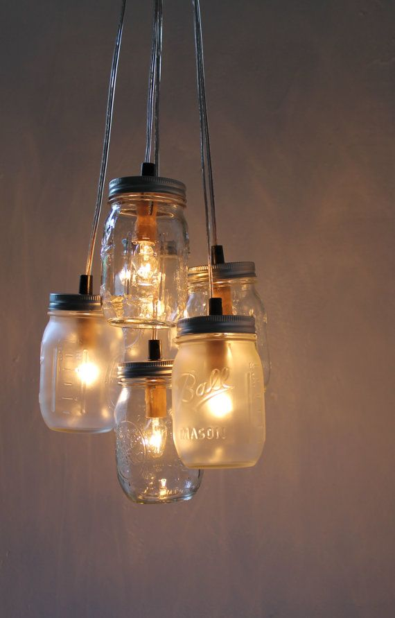 Misty Morning  Mason Jar Chandelier  Upcycled Hanging by BootsNGus