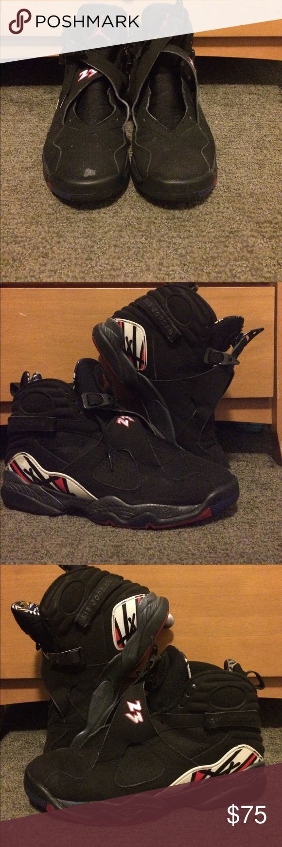Retro Air Jordan VIII - Playoffs - Size 12M - 7/10 condition - Minor signs of wear and creasing - Biggest blemish is scuff on right toe - Inside velcro straps show a little more wear      than outside ones - Will be cleaned, washed, and midsoles will be      repainted before shipping Air Jordan Shoes Sneakers