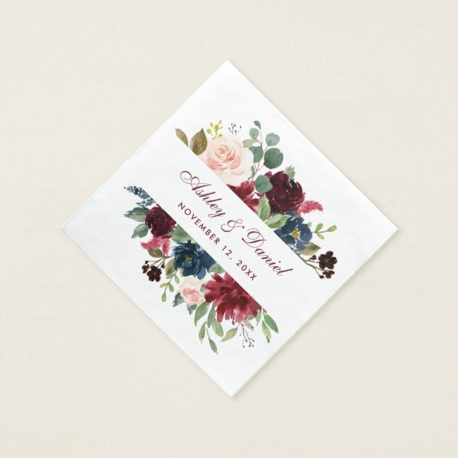 Watercolor Burgundy Blue Floral Wedding Napkin | Zazzle.com