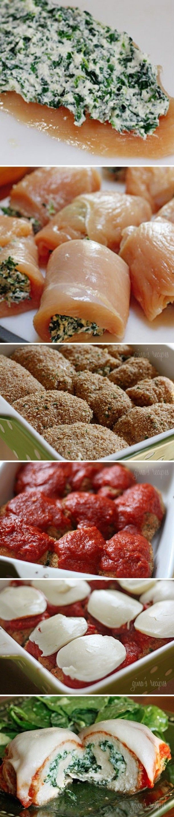 Oven: 230 °C. Ovenschaal invetten. Paneermeel: 125 gr italiaans gekruid paneermeel+2 eetlepels geraspte kaas+60 ml eiwit. Spinazie-kaasmengsel: 45 gr mozzarella+25 gr geraspte kaas+150gr spinazie+2 el ei+6 el ricotta. 8x kip met 2 el spinazie-kaasmengsel. Oprollen. Insmeren met ei, dippen in paneermeel. 25 min in de oven. Italiaanse tomatensaus+mozzarella eroverheen; nog 3 min in de oven.