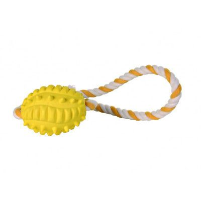 Balle de rugby en caoutchouc naturel sur une corde Trixie