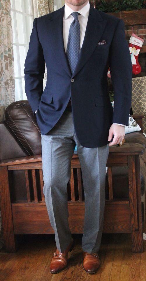 White Shirt Gray Pants Blue Blazer