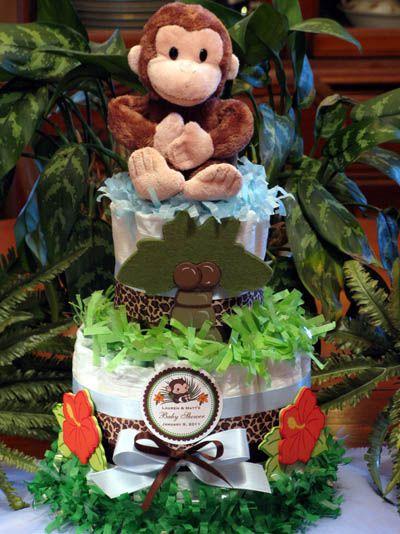 monkey baby shower ideas for boys | LMK Gifts Baby Shower MONKEY diaper cake centerpiece