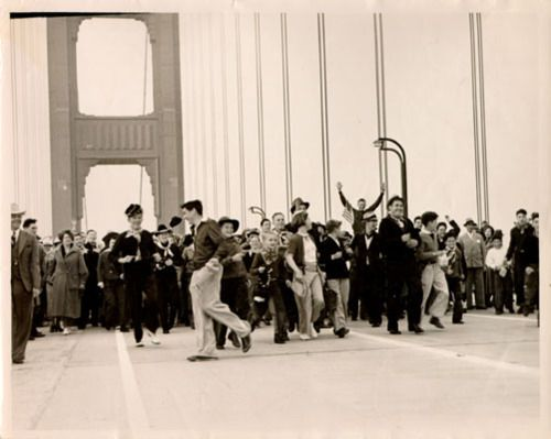 Crossing the Golden Gate Bridge on opening day 1937