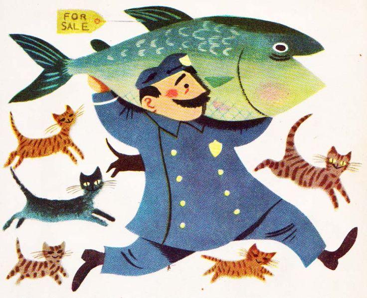 Illustration #illu #illustration #man #character #fish #cat #animal