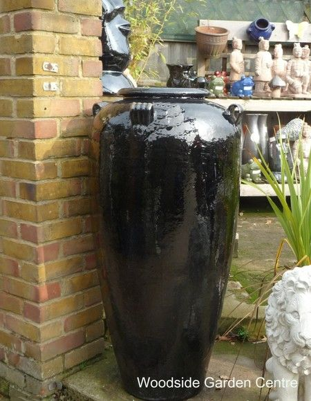 Large Tall Black Glazed Temple Jar Vase | Woodside Garden Centre | Pots To  Inspire