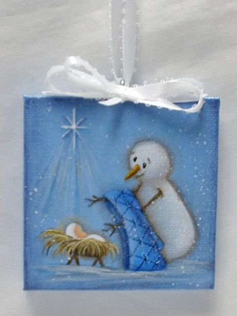 Mini Canvas  Painting of Snowman with Baby Jesus by FromGramsHouse