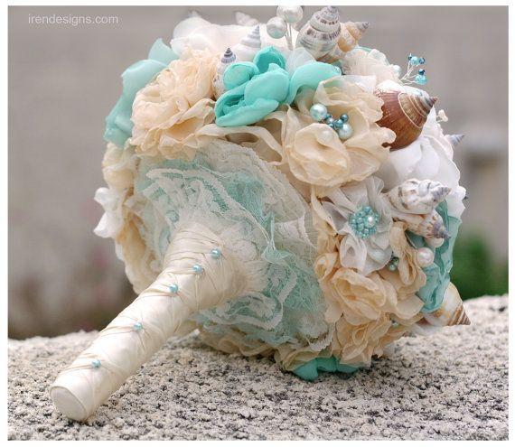 Seashells Wedding Bouquet for Beach Wedding. by IrenDesigns