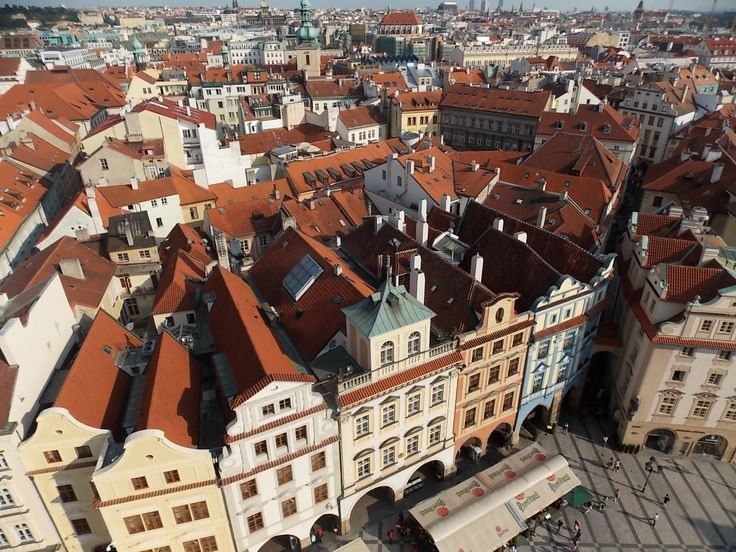 Looking across the city of Prague