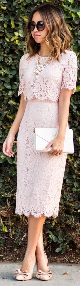 Pink Lace Midi Dress – Asos, Shoes – Old, Sunglasses – Nordstrom, Handbag – Saint Laurent, Pearl Statement necklace – Morning Lavender || Lace And Locks
