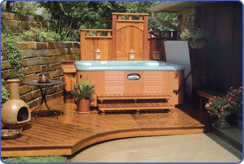 hot tub landscaping | Hot Tub Installation 1