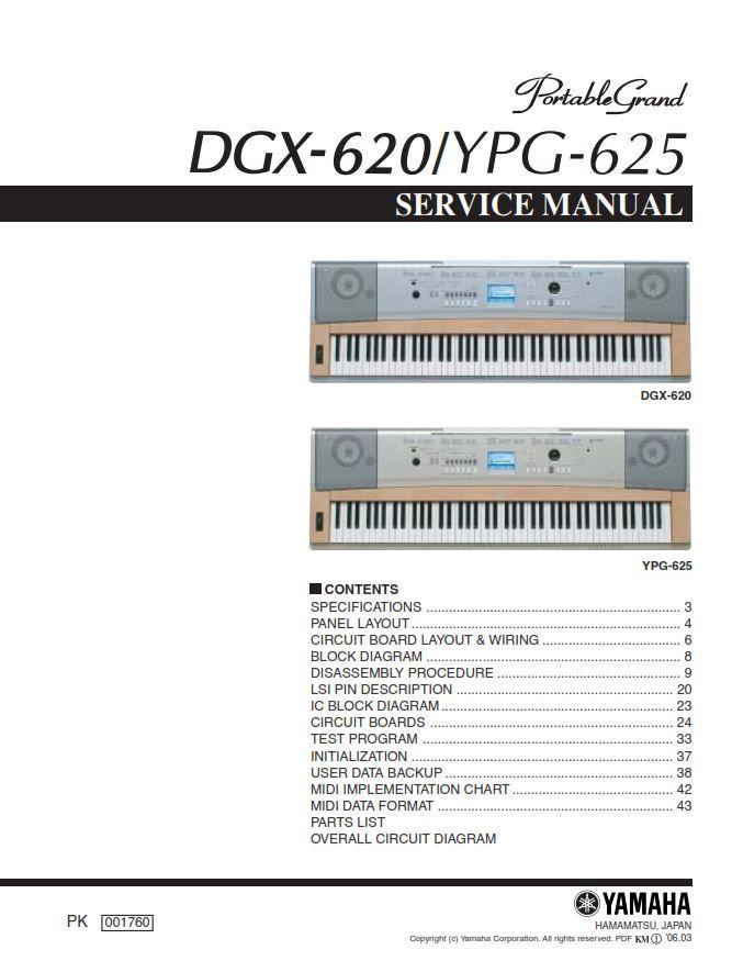 Yahama Dgx 620 Ypg 625 Keyboard Service Manual And Repair Guide Data Backup Repair Guide Circuit Board
