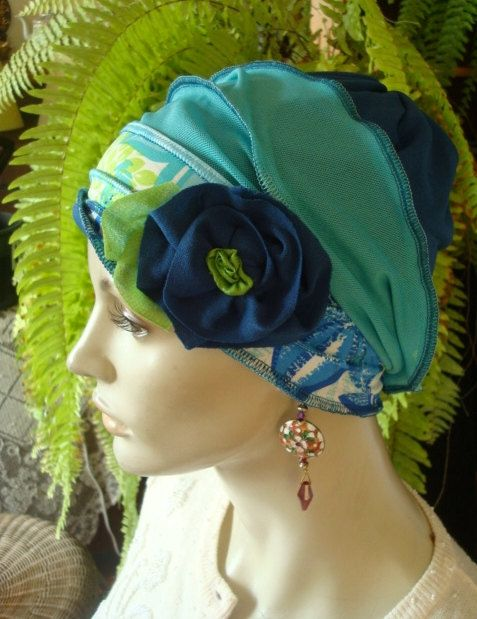 Womens Chemo Hat Teal Blue Turquoise Lime by GypsyLoveHeadbands, $48.00