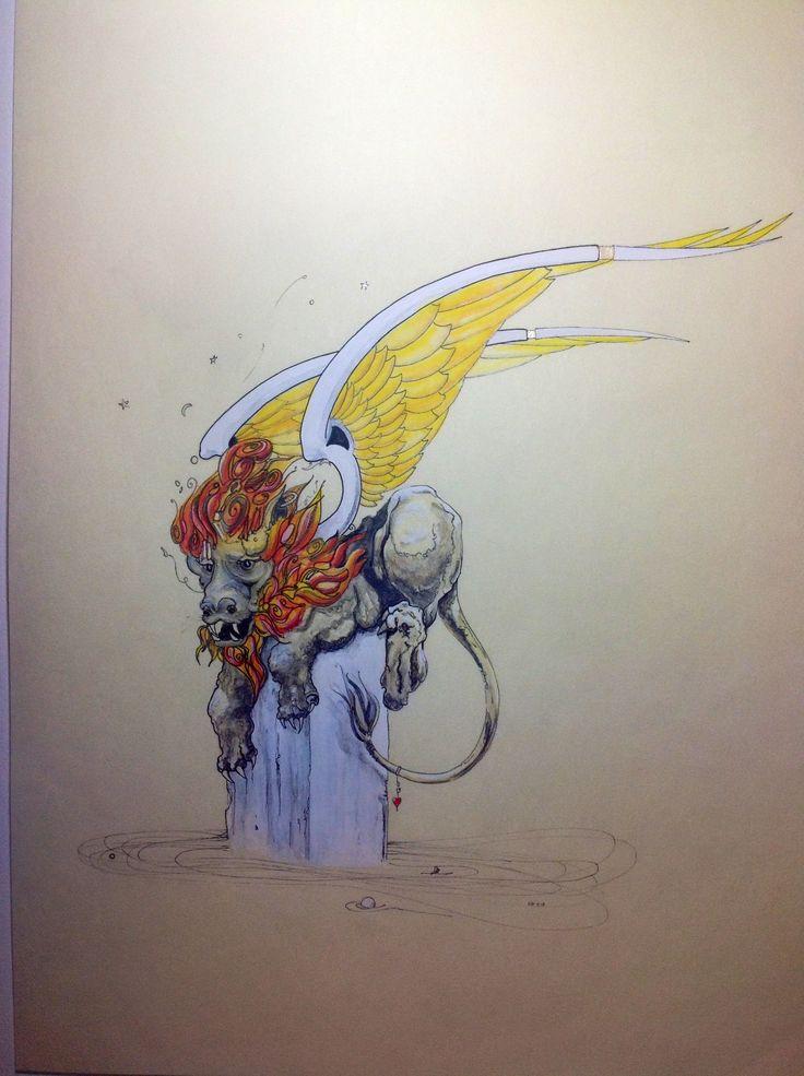 Lion of St Mark. 50 x 34cm Pen & Ink, Watercolour Pencil, Gesso & Shell Gold on Parchmentine