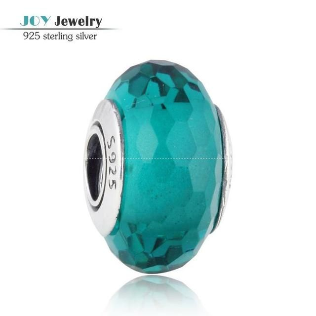 Teal Faceted Murano Glass Beads