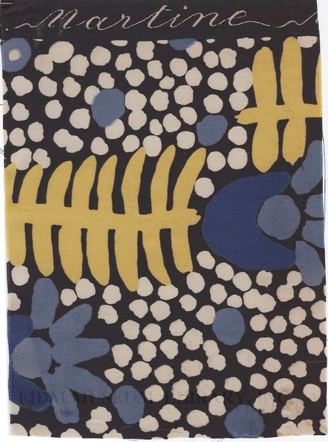Raoul Dufy, textile design, 1920s. Via fidmmuseum  Dufy (1877-1953) was a French painter who met couturier Paul Poiret around 1910. Together they established a workshop for block-printing textiles. As a painter, Dufy was associated with Fauvism. As a textile designer Dufy created extravagant portrayals of natural forms which can be clearly linked to his paintings.