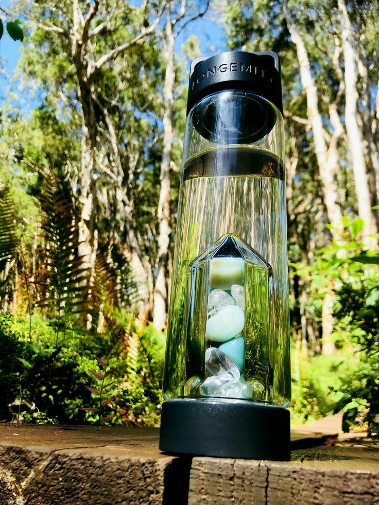 LONGEMITY Crystal Infused Water Bottle HARMONY Amazonite and Clear Quartz blend. Mother Natures gift ❤