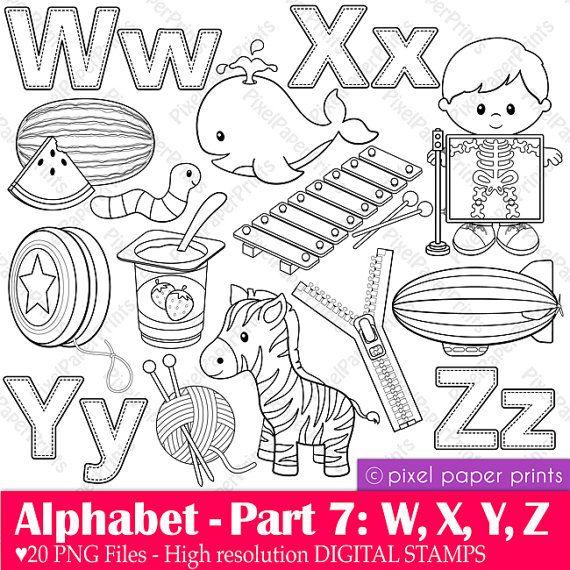 Alphabet Digital Stamps  Part 7 - WXYZ clip art - School clipart